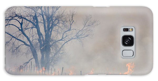 Fire And Fence Line Galaxy Case by Scott Bean