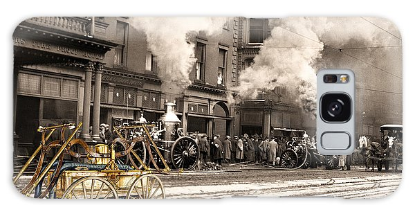 Fire Truck In New York 1890 Collage Galaxy Case