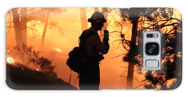 Firefighter At Night On The White Draw Fire Galaxy Case by Bill Gabbert