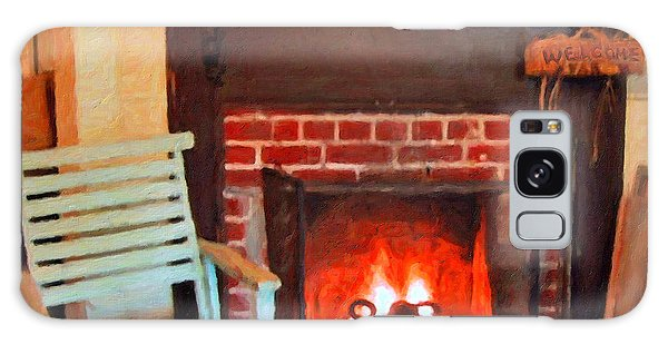 The Family Hearth - Fireplace Old Rocking Chair Galaxy Case