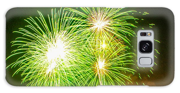 Fireworks Green And White Galaxy Case by Robert Hebert