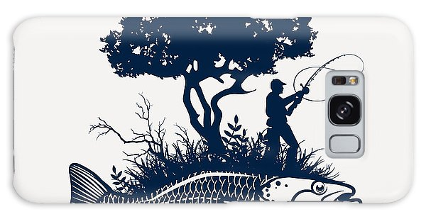 Outdoor Galaxy Case - Fish Island With Fisherman And Tree by Moloko88