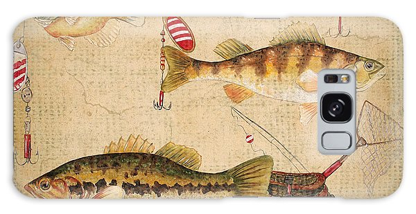 Fish Trio-a-basket Weave Border Galaxy Case by Jean Plout