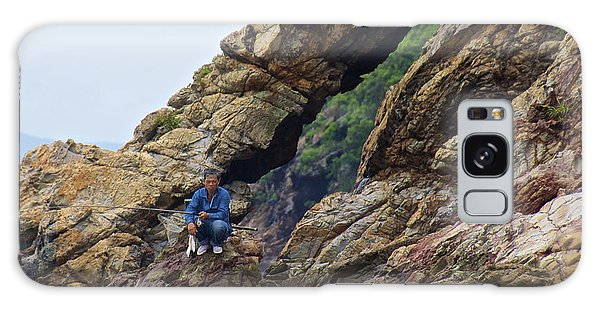 Fisherman On Rocks  Galaxy Case by Sarah Mullin