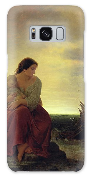 Drown Galaxy Case - Fishermans Wife Mourning On The Beach Oil On Canvas by Julius Muhr