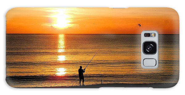 Fishing At Sunrise Galaxy Case