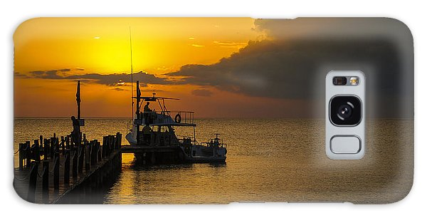 Fishing Boat At Sunset Galaxy Case