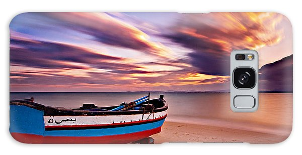 Galaxy Case featuring the photograph Fishing Boat On A Beach At Sunset / Hammamet by Barry O Carroll