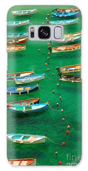 Fishing Boats In Vernazza Galaxy Case by David Smith