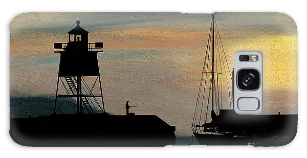 Fishing Off The Breakwater Galaxy Case by R Kyllo