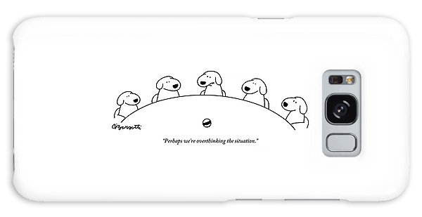 Five Dogs Sitting Around A Roundtable Galaxy Case by Charles Barsotti