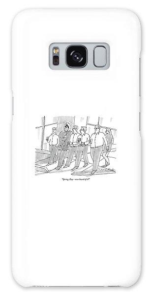 Five Guys Walking. One Is Wearing A Winter Coat Galaxy Case