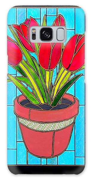 Five Red Tulips Galaxy Case
