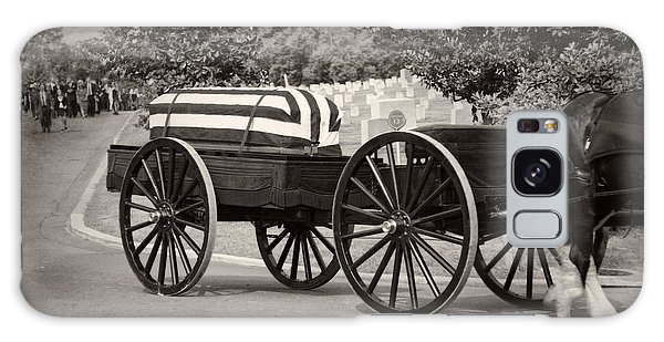 Flag Draped Casket At Arlington With Border Galaxy Case