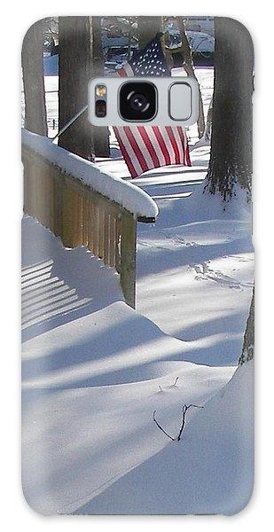 Flag Over Morning Snow Galaxy Case by Pamela Hyde Wilson