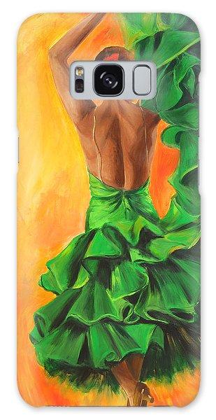 Flamenco Dancer In Green Dress Galaxy Case