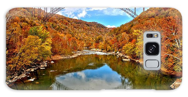 Flaming Fall Foliage At New River Gorge Galaxy Case by Adam Jewell