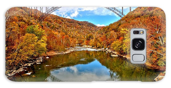 Flaming Fall Foliage At New River Gorge Galaxy Case