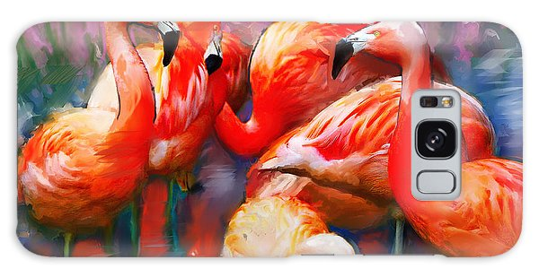 Flaming Flamingos Galaxy Case