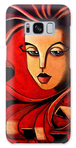 Galaxy Case featuring the painting Flaming Serenity by Oscar Ortiz