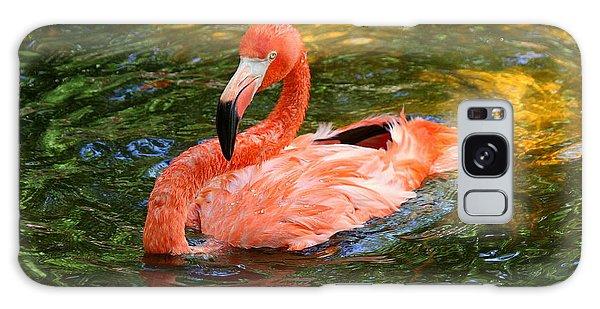 Flamingo Bathtime Galaxy Case by Myrna Bradshaw