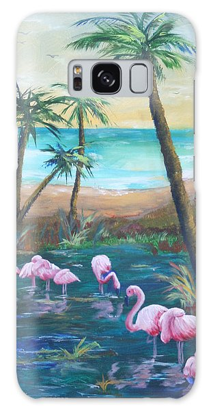 Flamingo Beach Galaxy Case