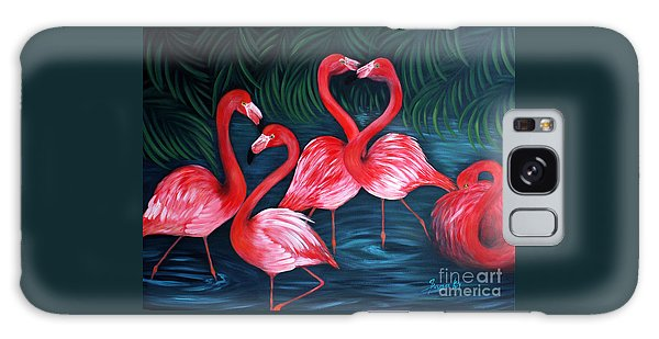 Flamingo Love. Inspirations Collection. Special Greeting Card Galaxy Case by Oksana Semenchenko