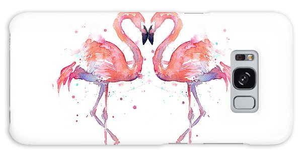 Flamingo Love Watercolor Galaxy Case