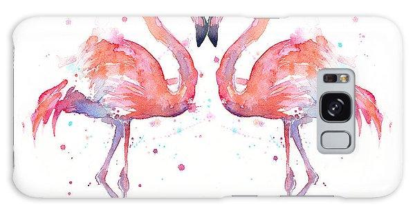 Heart Galaxy Case - Flamingo Love Watercolor by Olga Shvartsur