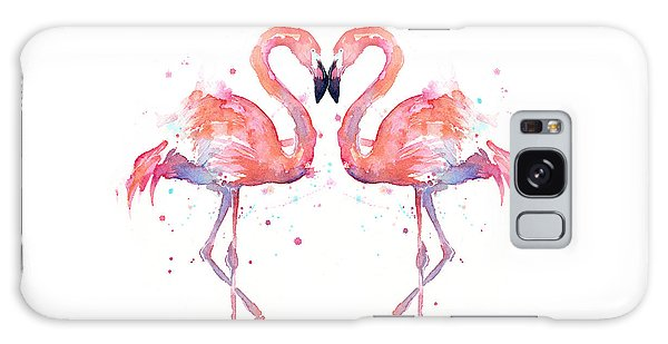 Animal Galaxy S8 Case - Flamingo Love Watercolor by Olga Shvartsur