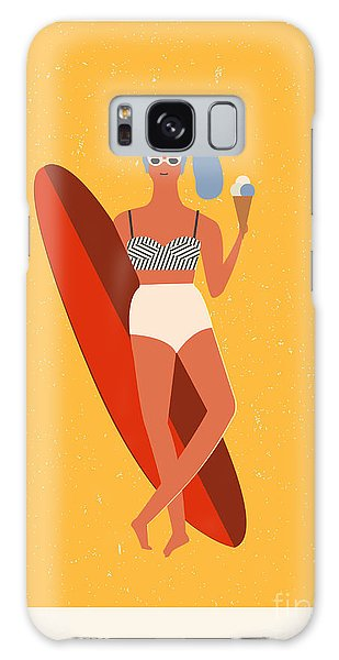 Board Galaxy Case - Flat Illustration With Surfer Girl With by Tasiania