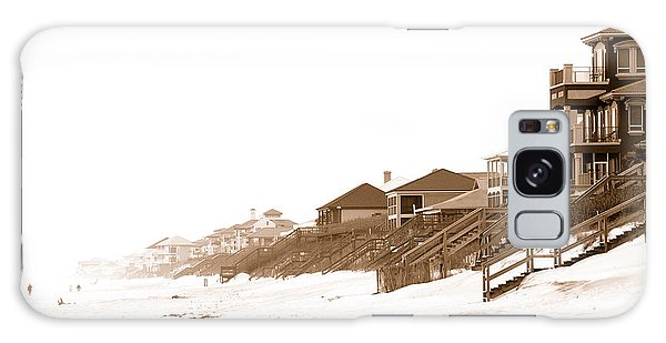 Florida Beach Sepia Print Galaxy Case by Charles Beeler