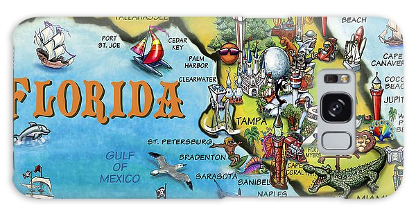 Florida Cartoon Map Galaxy Case