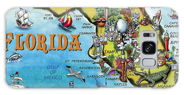 Florida Cartoon Map Galaxy Case by Kevin Middleton