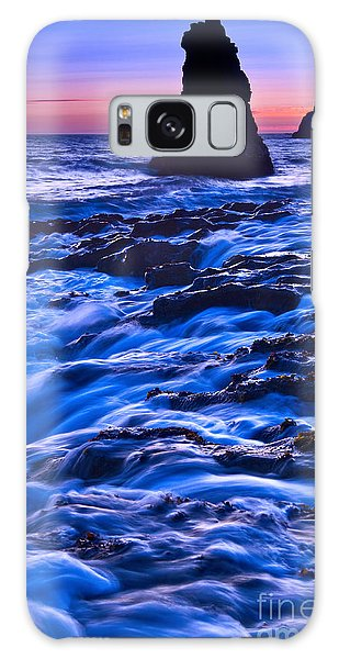 Sea Stacks Galaxy Case - Flow - Dramatic Sunset View Of A Sea Stack In Davenport Beach Santa Cruz. by Jamie Pham