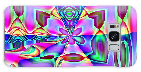 Flower And Hearts Modern Abstract Art Design Galaxy Case by Annie Zeno