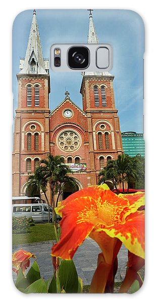 Place Of Worship Galaxy Case - Flower And Notre-dame Cathedral by David Wall