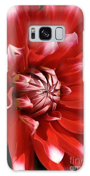 Flower- Dahlia-red-white Galaxy Case