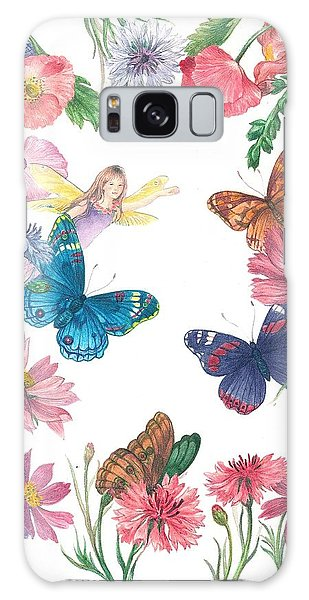 Flower Fairy Illustrated Butterfly Galaxy Case