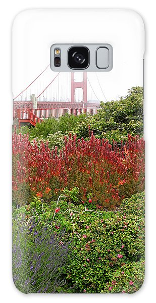 Flower Garden At The Golden Gate Bridge Galaxy Case by Connie Fox