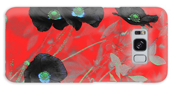 Flower Garden -  Four Black Poppies On Red Galaxy Case