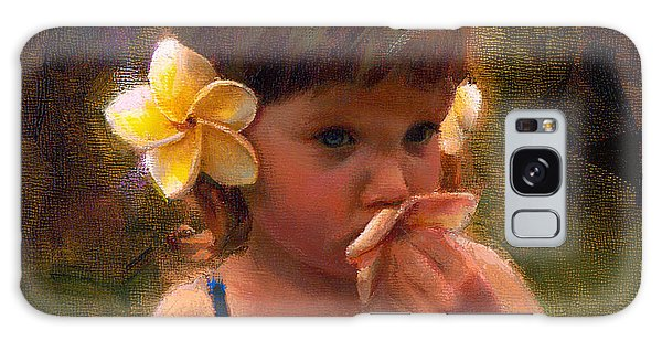Flower Girl - Tropical Portrait With Plumeria Flowers Galaxy Case