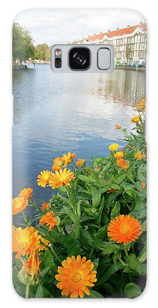 Flowerbed Galaxy Case - Flowerbed Beside A Canal by Chris Martin-bahr/science Photo Library