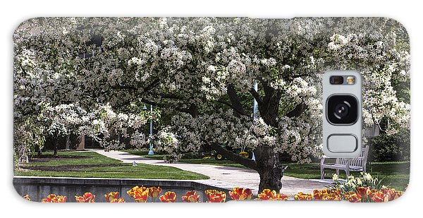 Flowers And Bench At Michigan State University  Galaxy Case by John McGraw