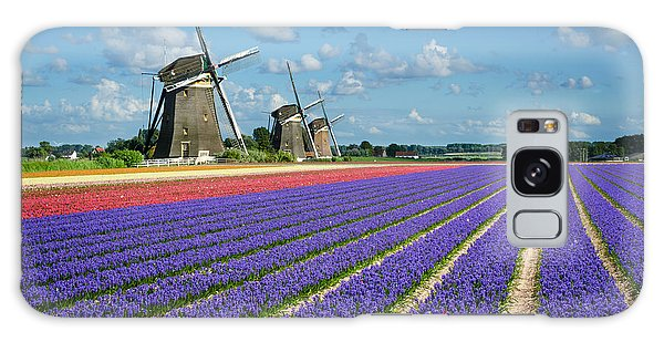 Landscape In Spring With Flowers And Windmills In Holland Galaxy Case