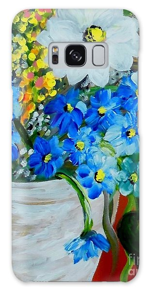 Flowers In A White Vase Galaxy Case by Eloise Schneider
