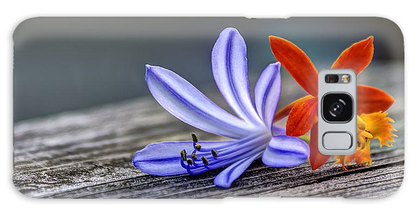 Handrail Galaxy Case - Flowers Of Blue And Orange by Marvin Spates