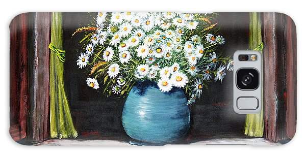 Flowers On The Ledge Galaxy Case