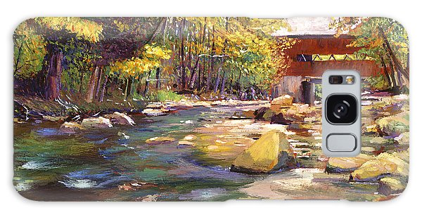 Scenery Galaxy Case - Flowing Water At Red Bridge by David Lloyd Glover