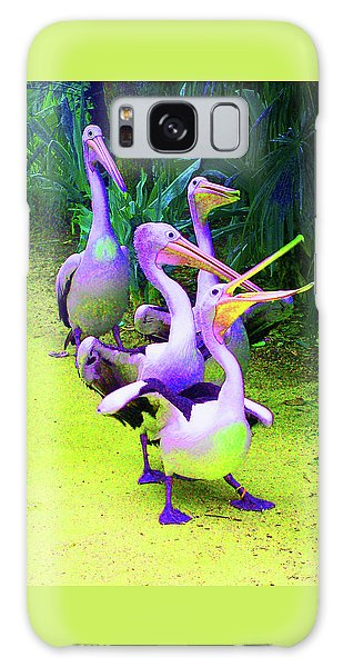 Fluorescent Pelicans Galaxy Case by Margaret Saheed